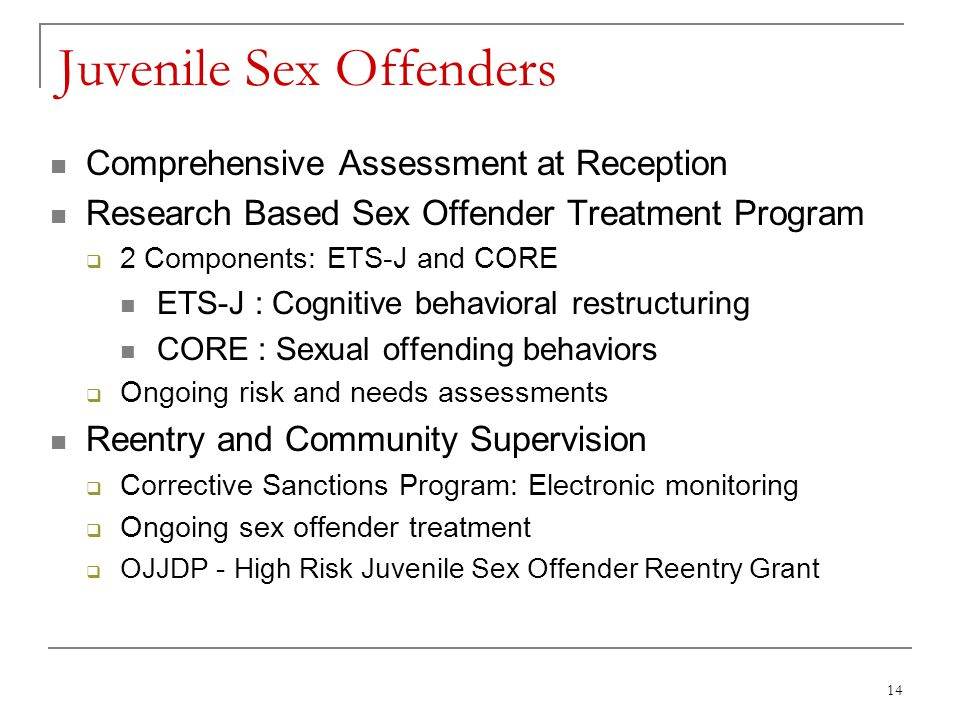14 Juvenile Sex Offenders Comprehensive Assessment at Reception Research Based Sex Offender Treatment Program  2 Components: ETS-J and CORE ETS-J : Cognitive behavioral restructuring CORE : Sexual offending behaviors  Ongoing risk and needs assessments Reentry and Community Supervision  Corrective Sanctions Program: Electronic monitoring  Ongoing sex offender treatment  OJJDP - High Risk Juvenile Sex Offender Reentry Grant
