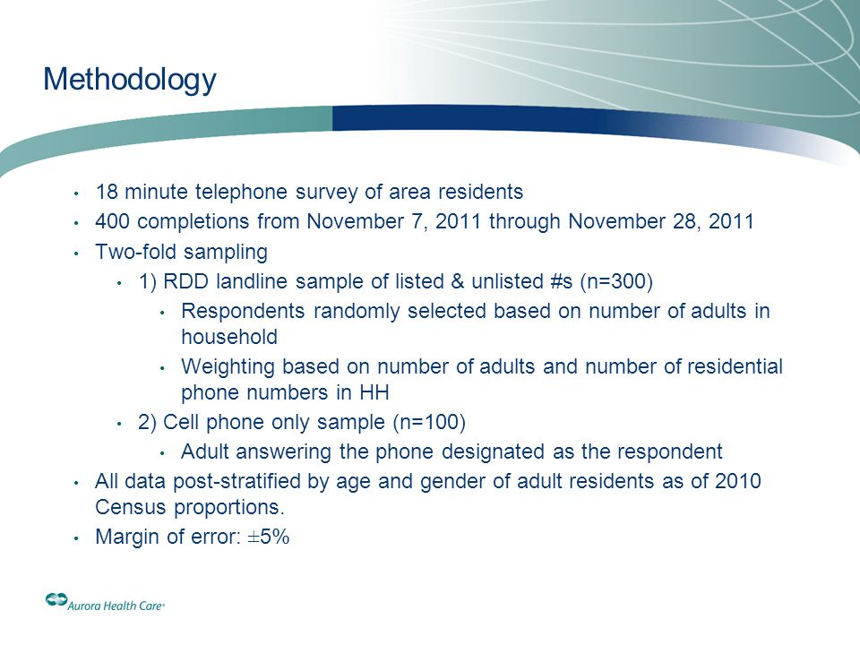 Methodology 18 minute telephone survey of area residents 400 completions from November 7, 2011 through November 28, 2011 Two-fold sampling 1) RDD land
