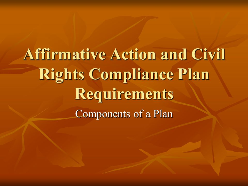 Affirmative Action and Civil Rights Compliance Plan Requirements Components of a Plan
