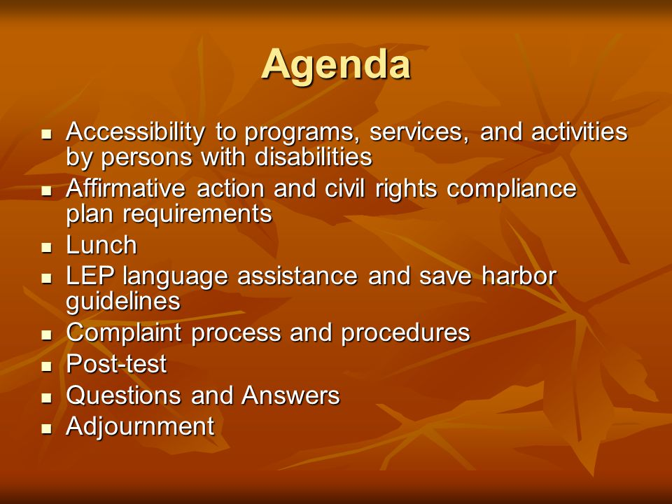 Agenda Accessibility to programs, services, and activities by persons with disabilities Accessibility to programs, services, and activities by persons with disabilities Affirmative action and civil rights compliance plan requirements Affirmative action and civil rights compliance plan requirements Lunch Lunch LEP language assistance and save harbor guidelines LEP language assistance and save harbor guidelines Complaint process and procedures Complaint process and procedures Post-test Post-test Questions and Answers Questions and Answers Adjournment Adjournment