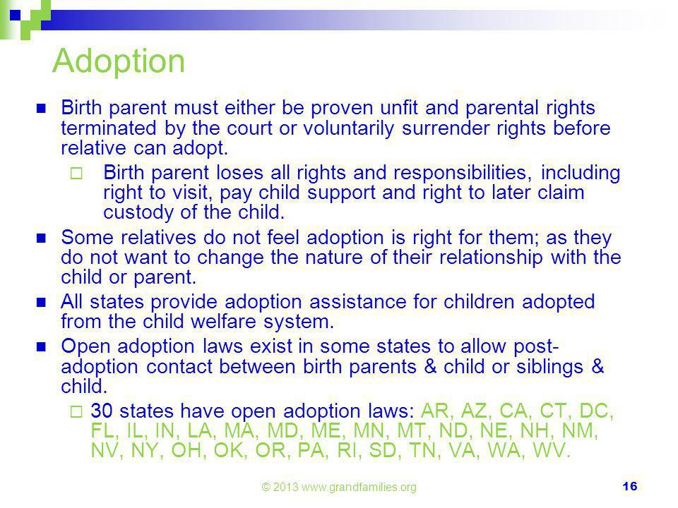 Adoption Birth parent must either be proven unfit and parental rights terminated by the court or voluntarily surrender rights before relative can adopt.