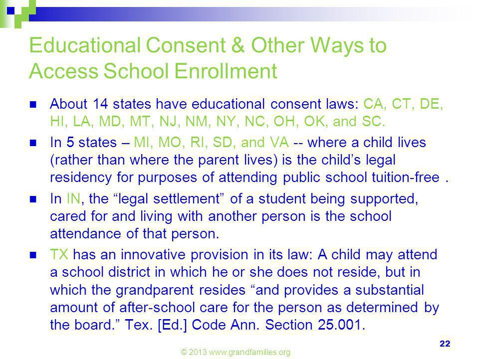 Educational Consent & Other Ways to Access School Enrollment About 14 states have educational consent laws: CA, CT, DE, HI, LA, MD, MT, NJ, NM, NY, NC, OH, OK, and SC.