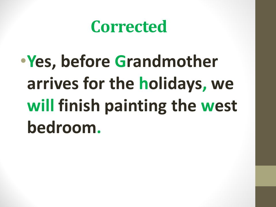 Corrected Yes, before Grandmother arrives for the holidays, we will finish painting the west bedroom.