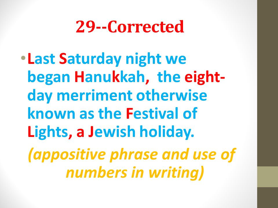 29--Corrected Last Saturday night we began Hanukkah, the eight- day merriment otherwise known as the Festival of Lights, a Jewish holiday. (appositive