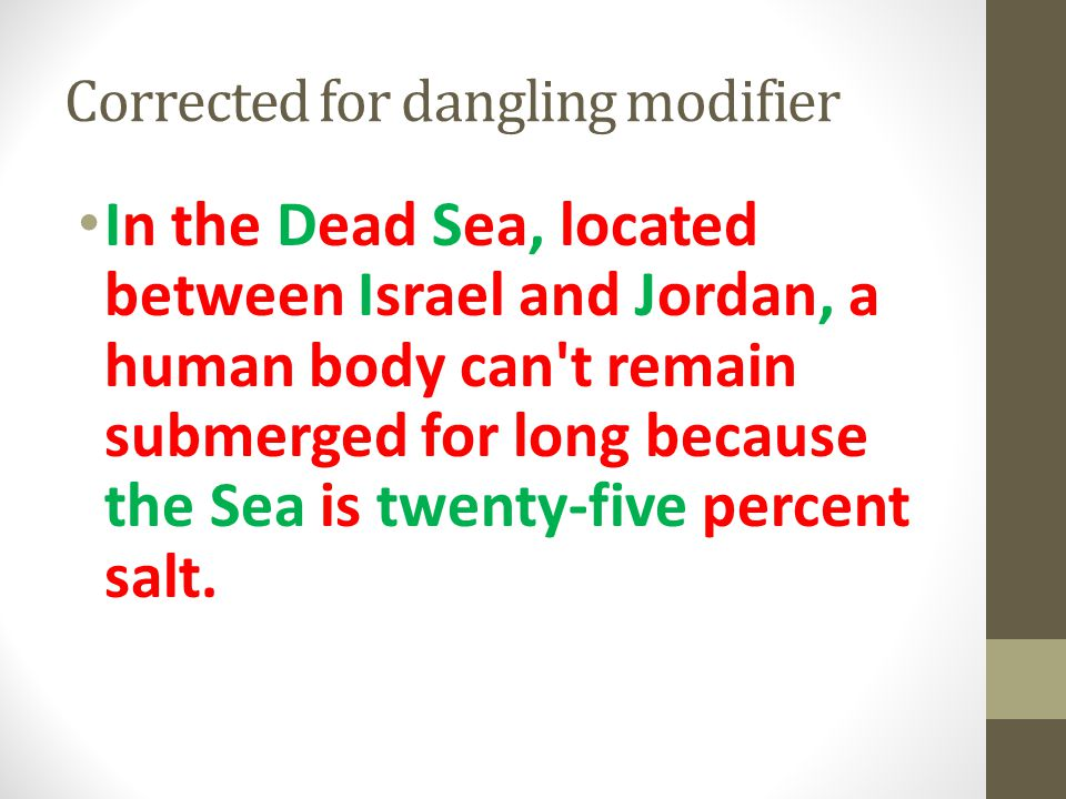 Corrected for dangling modifier In the Dead Sea, located between Israel and Jordan, a human body can't remain submerged for long because the Sea is tw