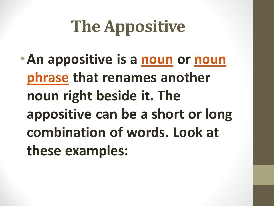 The Appositive An appositive is a noun or noun phrase that renames another noun right beside it. The appositive can be a short or long combination of