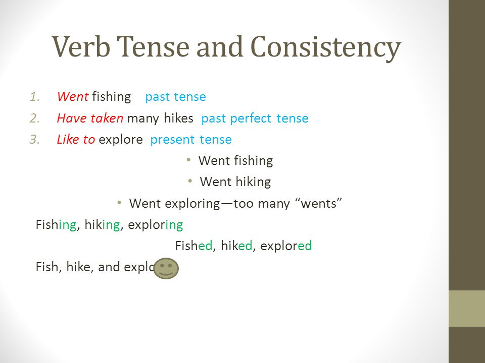 Verb Tense and Consistency 1.Went fishing past tense 2.Have taken many hikes past perfect tense 3.Like to explore present tense Went fishing Went hiki