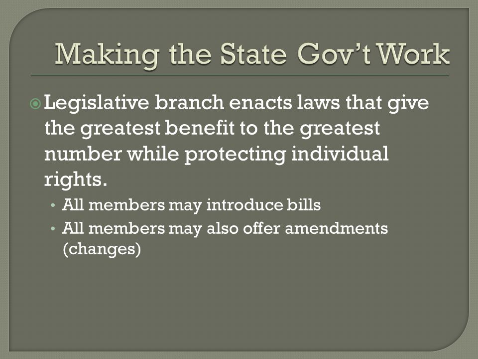  Executive branch carries out the law Governor's State of the State address – tells the legislature the condition of the state, and recommend suggestions.