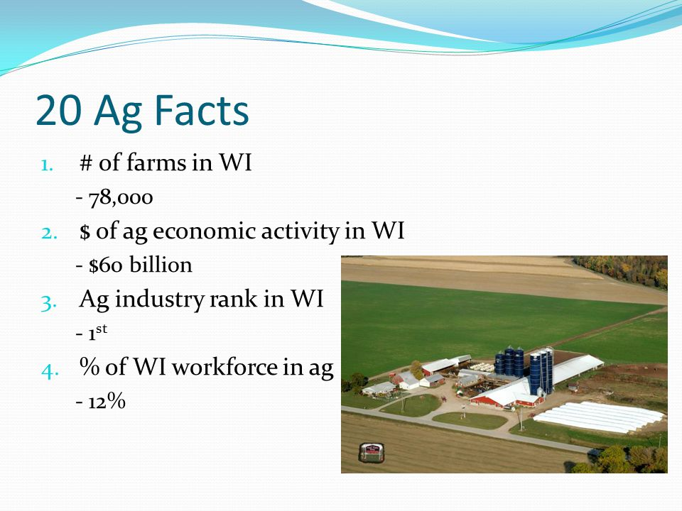 20 Ag Facts 1. # of farms in WI - 78,000 2. $ of ag economic activity in WI - $60 billion 3. Ag industry rank in WI - 1 st 4. % of WI workforce in ag