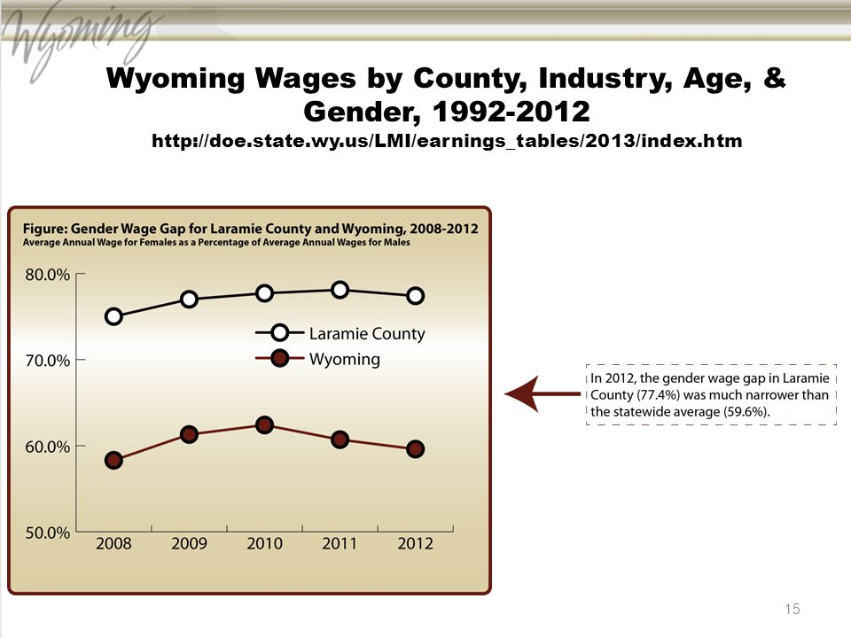 15 Wyoming Wages by County, Industry, Age, & Gender, 1992-2012 http://doe.state.wy.us/LMI/earnings_tables/2013/index.htm