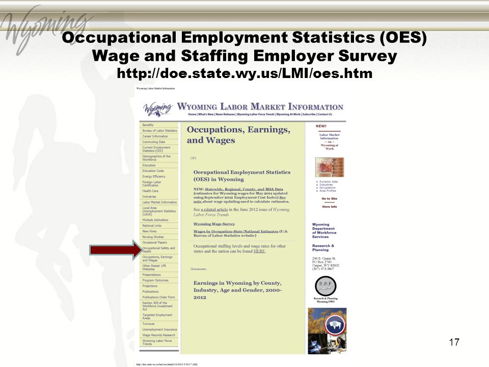 Occupational Employment Statistics (OES) Wage and Staffing Employer Survey http://doe.state.wy.us/LMI/oes.htm 17