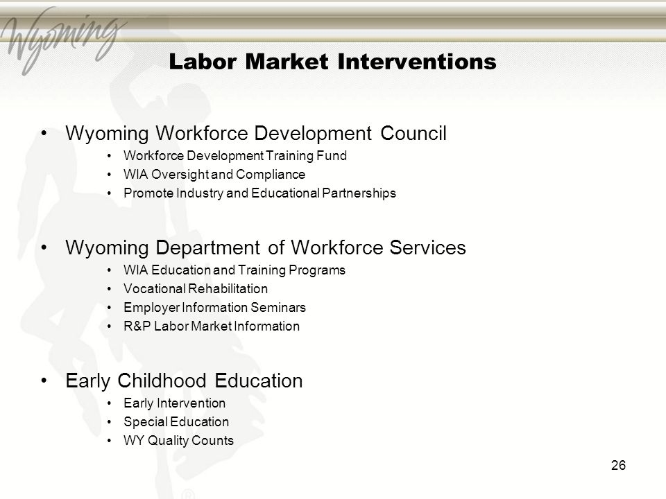 Labor Market Interventions Wyoming Workforce Development Council Workforce Development Training Fund WIA Oversight and Compliance Promote Industry and Educational Partnerships Wyoming Department of Workforce Services WIA Education and Training Programs Vocational Rehabilitation Employer Information Seminars R&P Labor Market Information Early Childhood Education Early Intervention Special Education WY Quality Counts 26