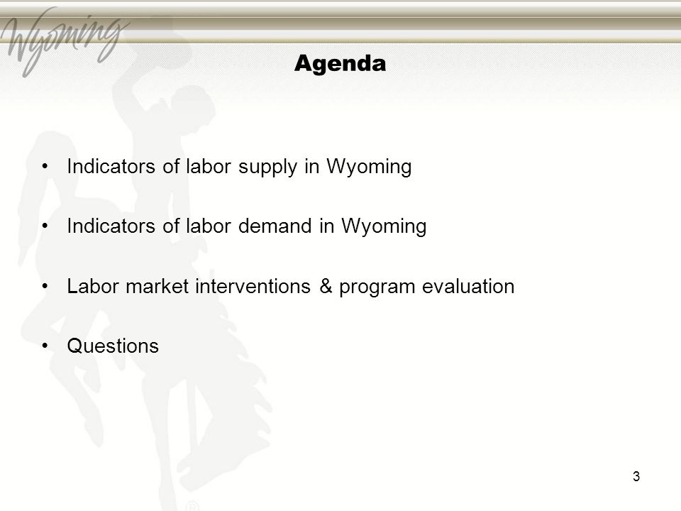 Agenda Indicators of labor supply in Wyoming Indicators of labor demand in Wyoming Labor market interventions & program evaluation Questions 3