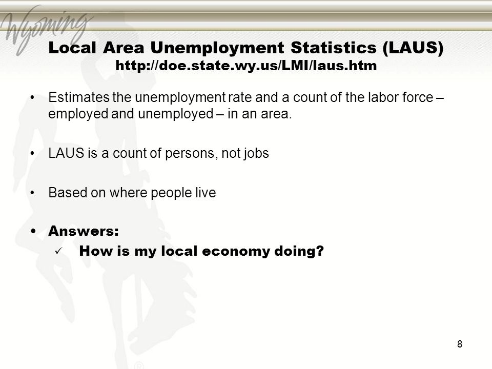 Local Area Unemployment Statistics (LAUS) http://doe.state.wy.us/LMI/laus.htm Estimates the unemployment rate and a count of the labor force – employed and unemployed – in an area.