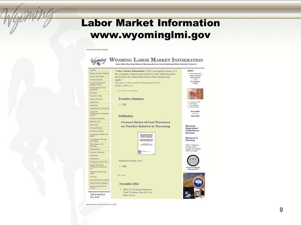Labor Market Information www.wyominglmi.gov 9