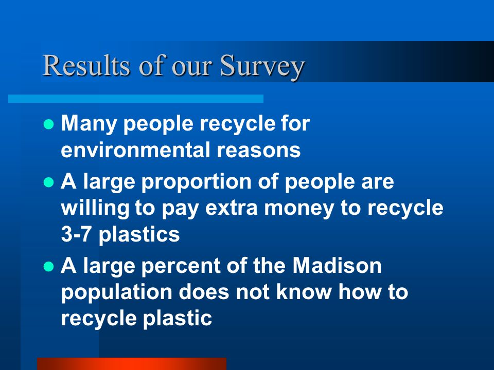 Results of our Survey Many people recycle for environmental reasons A large proportion of people are willing to pay extra money to recycle 3-7 plastic