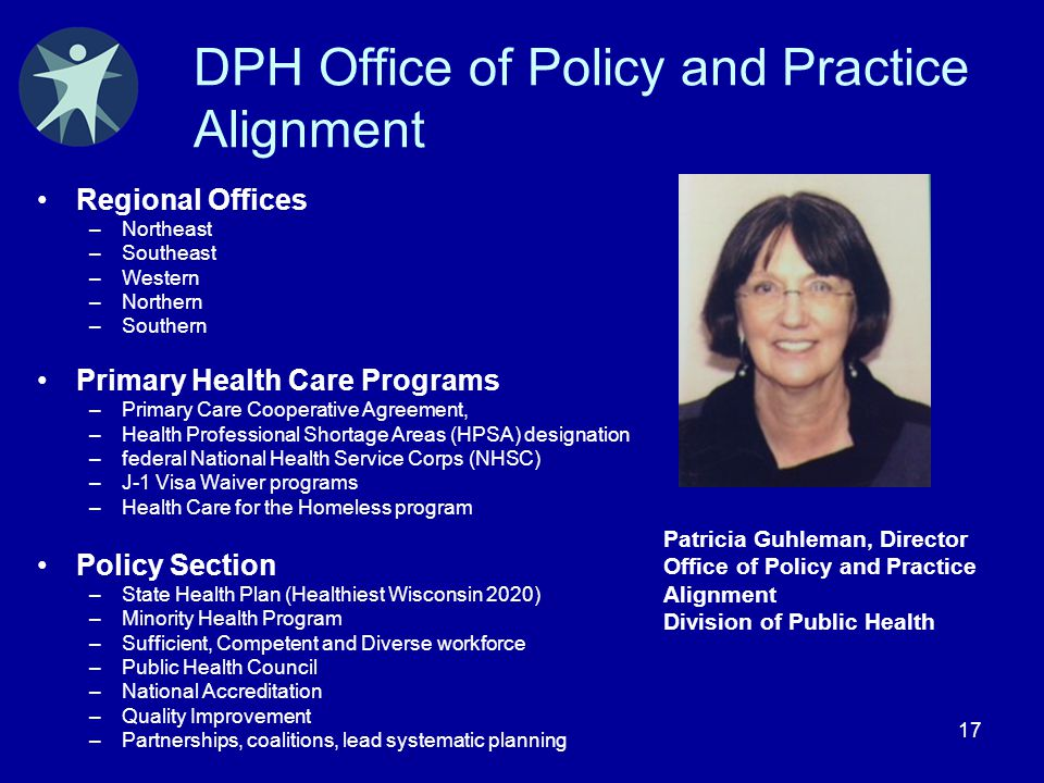 17 DPH Office of Policy and Practice Alignment Regional Offices –Northeast –Southeast –Western –Northern –Southern Primary Health Care Programs –Prima
