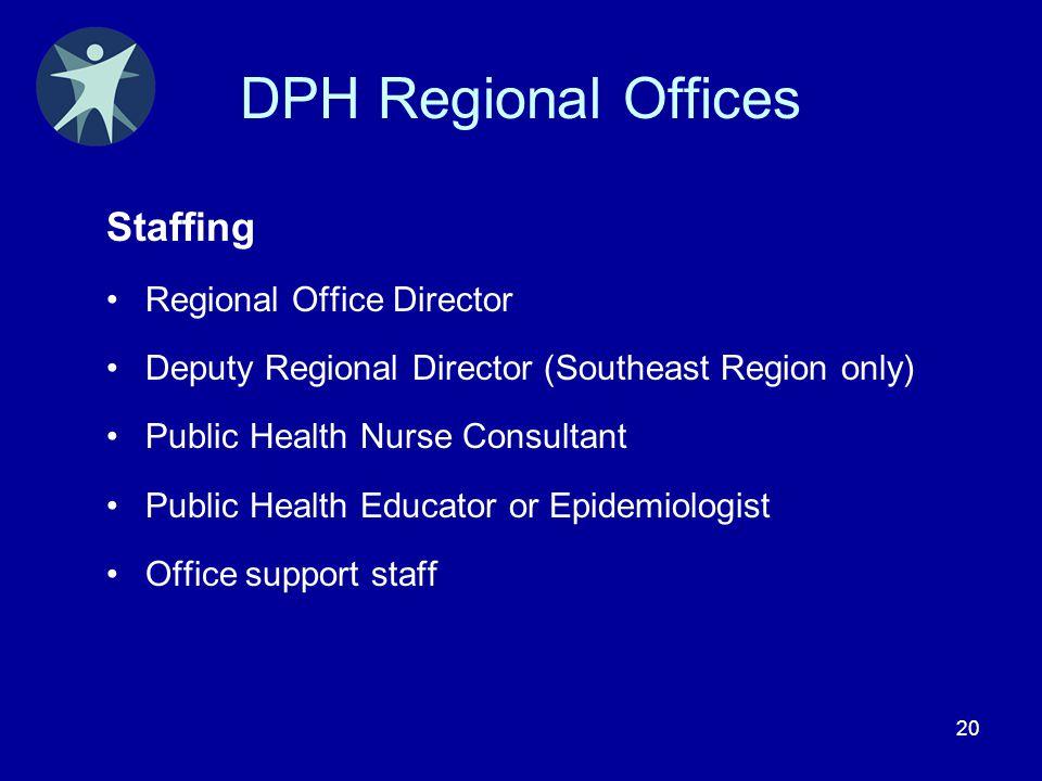 20 DPH Regional Offices Staffing Regional Office Director Deputy Regional Director (Southeast Region only) Public Health Nurse Consultant Public Healt