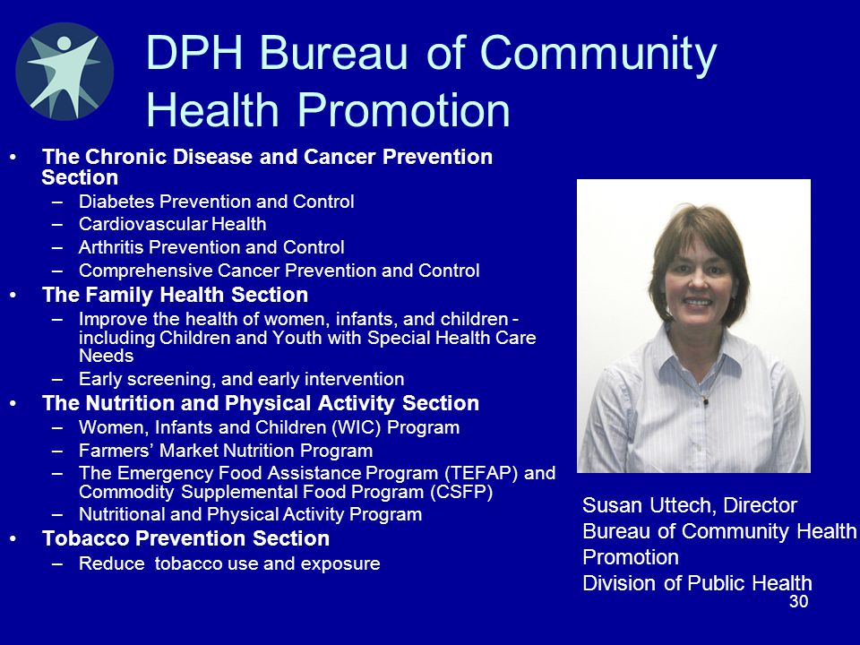 30 DPH Bureau of Community Health Promotion The Chronic Disease and Cancer Prevention Section –Diabetes Prevention and Control –Cardiovascular Health
