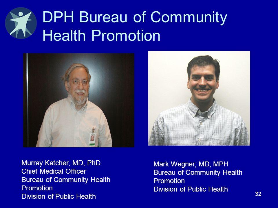 32 DPH Bureau of Community Health Promotion Mark Wegner, MD, MPH Bureau of Community Health Promotion Division of Public Health Murray Katcher, MD, Ph