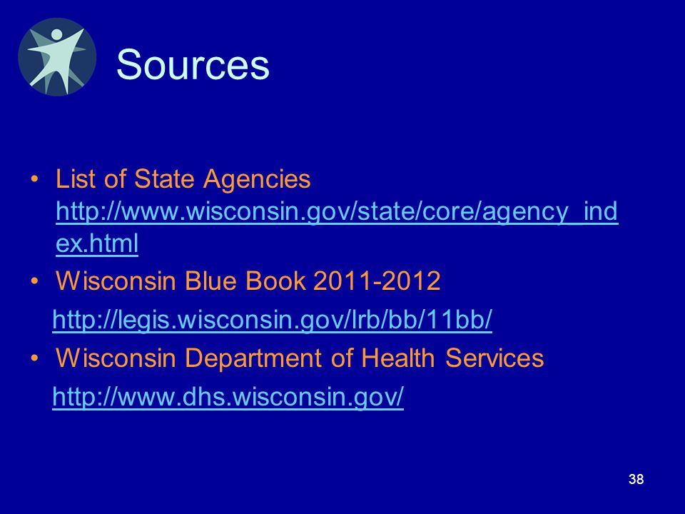 38 Sources List of State Agencies http://www.wisconsin.gov/state/core/agency_ind ex.html http://www.wisconsin.gov/state/core/agency_ind ex.html Wiscon
