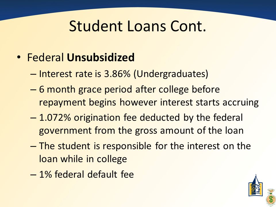 Student Loans Cont. Federal Unsubsidized – Interest rate is 3.86% (Undergraduates) – 6 month grace period after college before repayment begins howeve