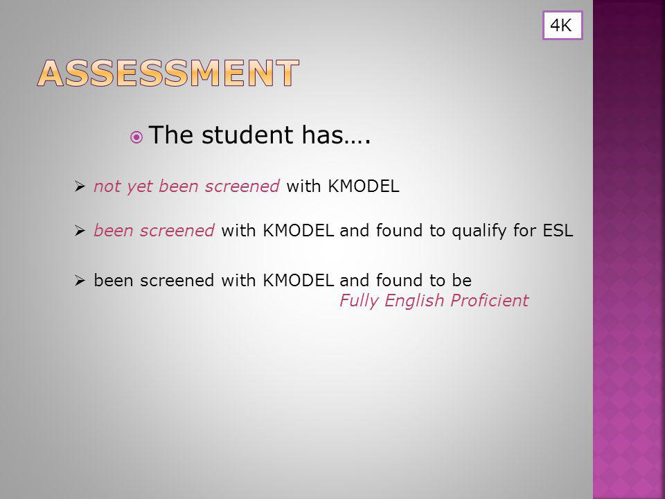  not yet been screened with KMODEL not yet been screened with KMODEL  The student has….  been screened with KMODEL and found to qualify for ESL bee