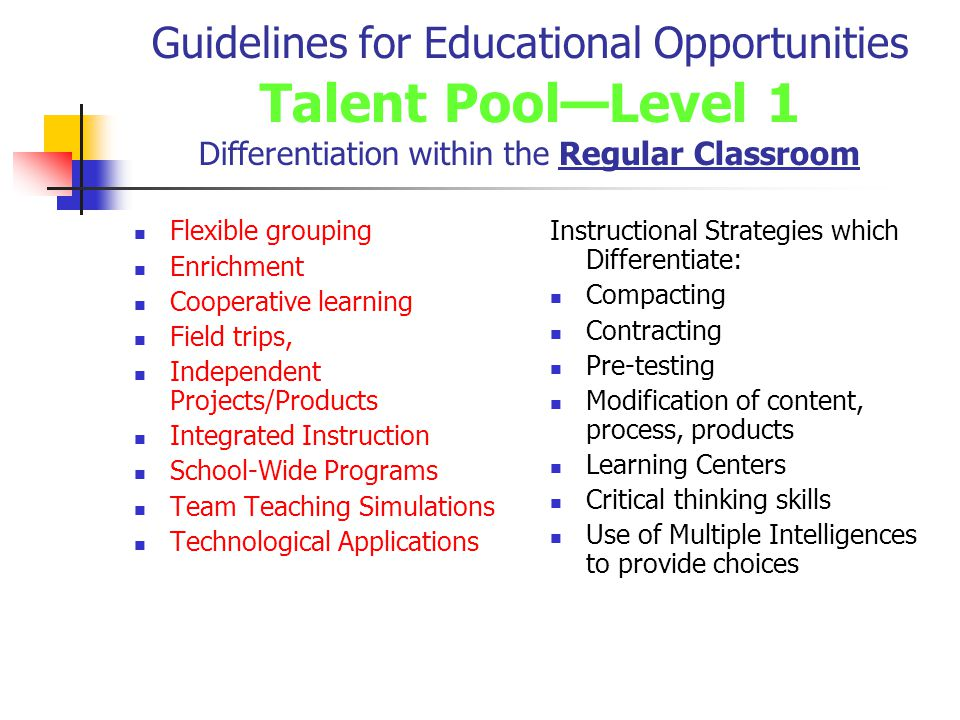 Guidelines for Educational Opportunities Talent Pool—Level 1 Differentiation within the Regular Classroom Flexible grouping Enrichment Cooperative learning Field trips, Independent Projects/Products Integrated Instruction School-Wide Programs Team Teaching Simulations Technological Applications Instructional Strategies which Differentiate: Compacting Contracting Pre-testing Modification of content, process, products Learning Centers Critical thinking skills Use of Multiple Intelligences to provide choices