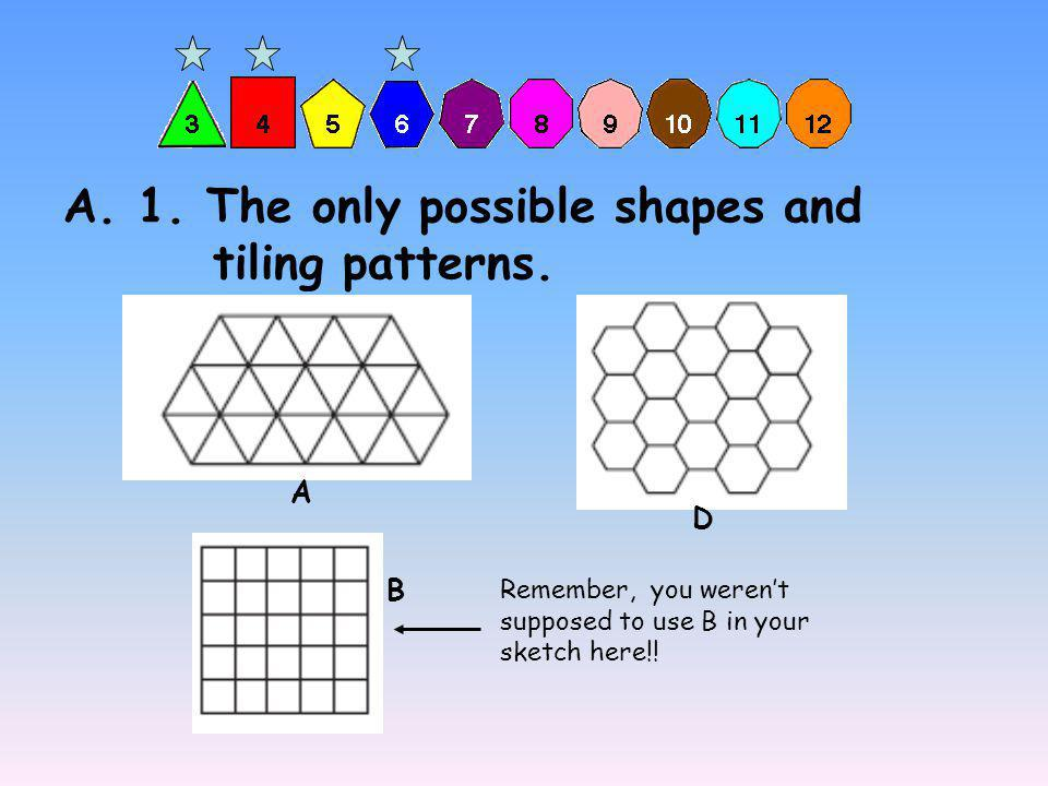 Regular Triangle or Equilateral Triangle Square Regular Hexagon (Page 9, 10, and 14 show all of the names, shapes, and their letters.