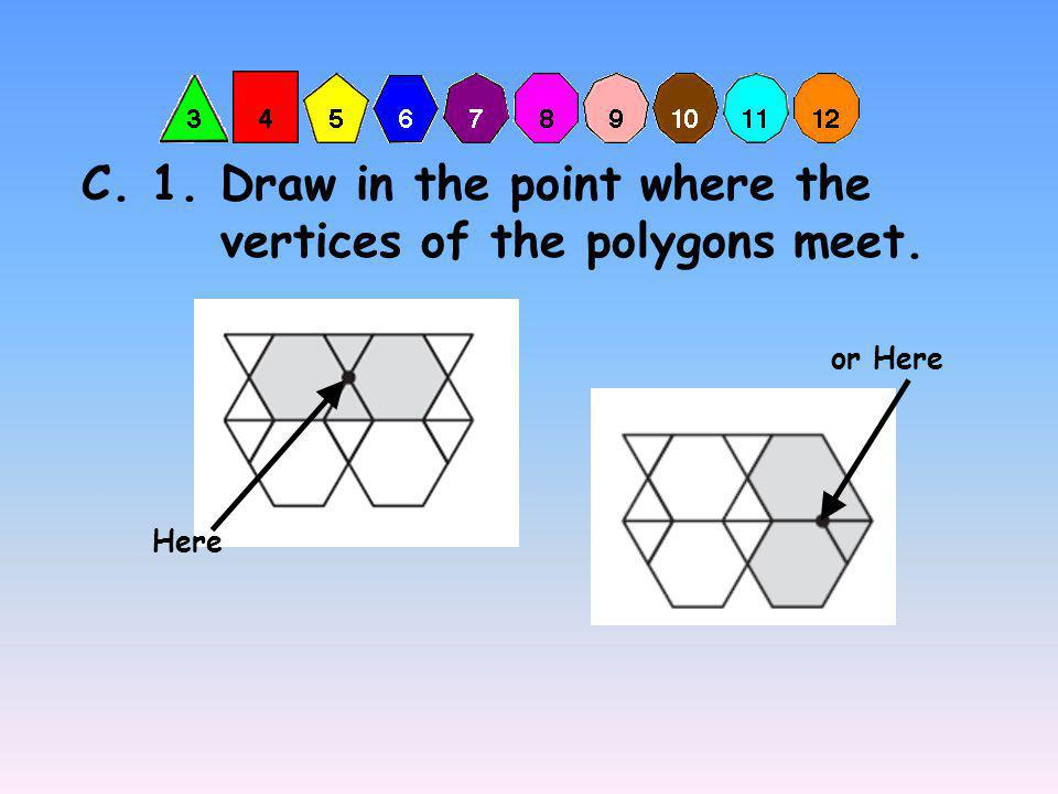 C. 1. Draw in the point where the vertices of the polygons meet. Here or Here