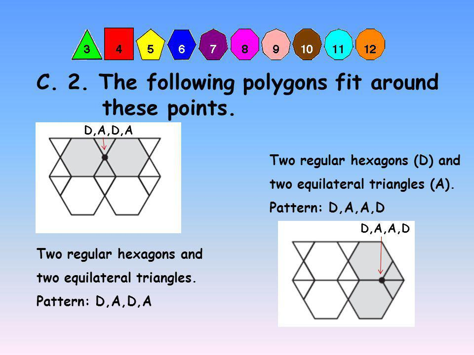 C. 2. The following polygons fit around these points.