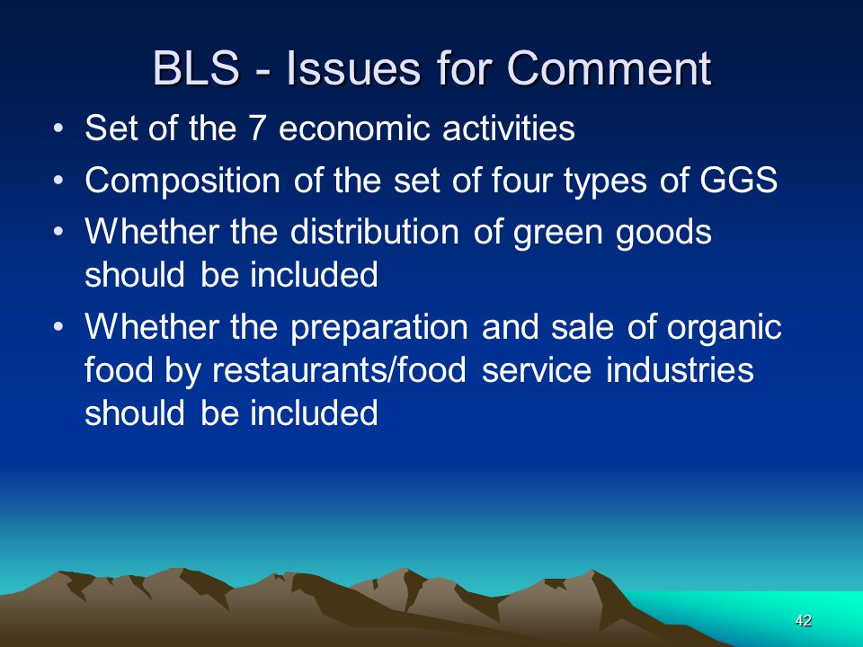 42 BLS - Issues for Comment Set of the 7 economic activities Composition of the set of four types of GGS Whether the distribution of green goods shoul