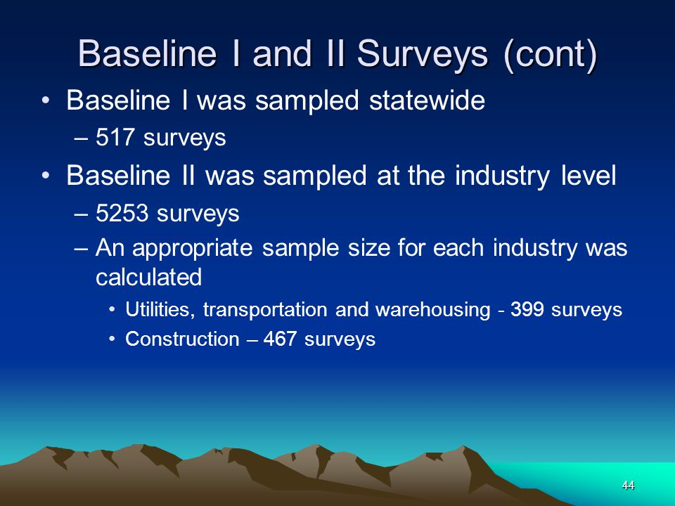 44 Baseline I and II Surveys (cont) Baseline I was sampled statewide –517 surveys Baseline II was sampled at the industry level –5253 surveys –An appr