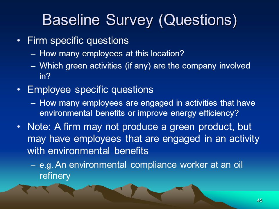 45 Baseline Survey (Questions) Firm specific questions –How many employees at this location? –Which green activities (if any) are the company involved