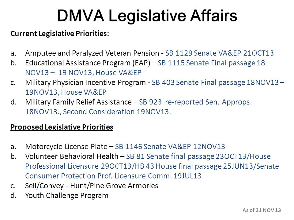 DMVA Legislative Affairs Current Legislative Priorities: a.Amputee and Paralyzed Veteran Pension - SB 1129 Senate VA&EP 21OCT13 b.Educational Assistan
