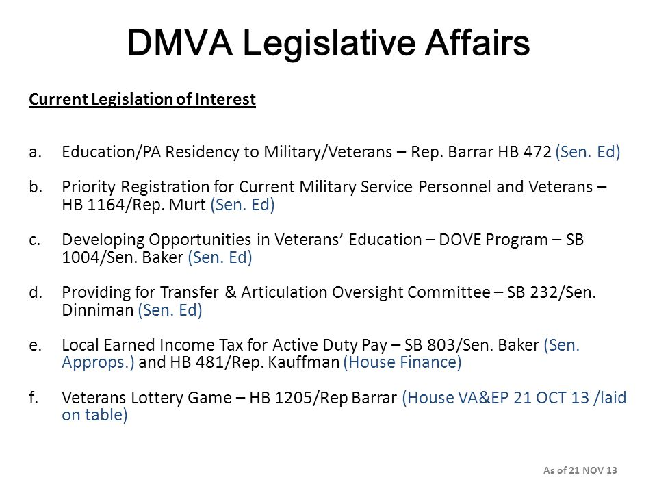DMVA Legislative Affairs Current Legislation of Interest a.Education/PA Residency to Military/Veterans – Rep.