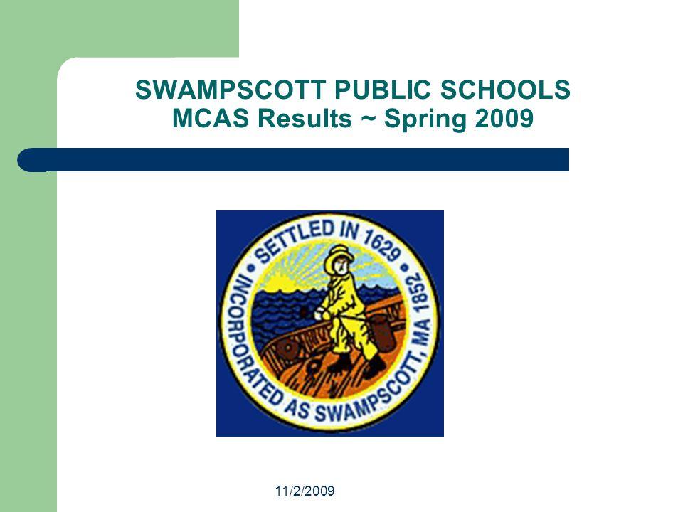 11/2/2009 SWAMPSCOTT PUBLIC SCHOOLS MCAS Results ~ Spring 2009