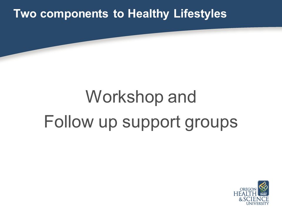 Two components to Healthy Lifestyles Workshop and Follow up support groups