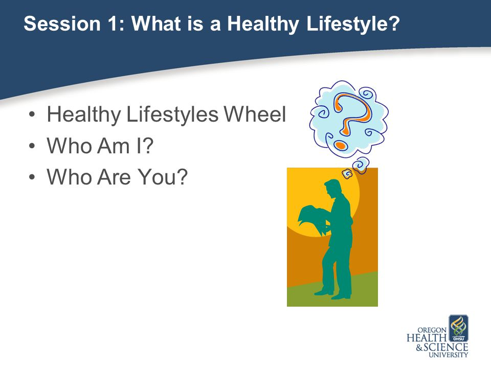 Session 1: What is a Healthy Lifestyle? Healthy Lifestyles Wheel Who Am I? Who Are You?