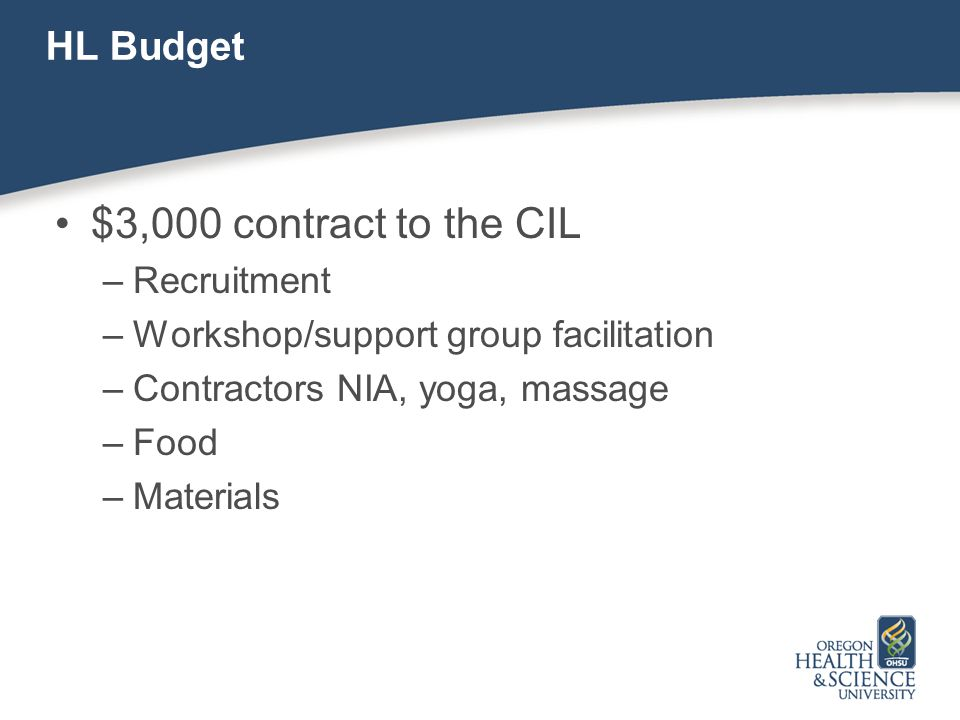 HL Budget $3,000 contract to the CIL –Recruitment –Workshop/support group facilitation –Contractors NIA, yoga, massage –Food –Materials