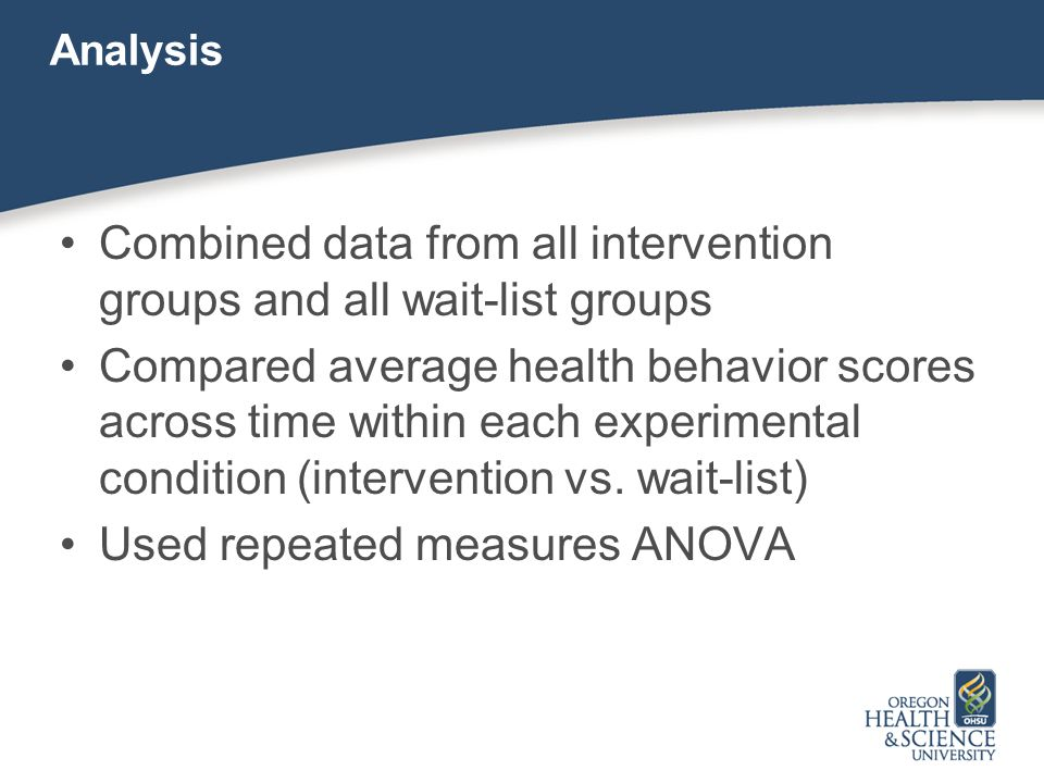 Analysis Combined data from all intervention groups and all wait-list groups Compared average health behavior scores across time within each experimen
