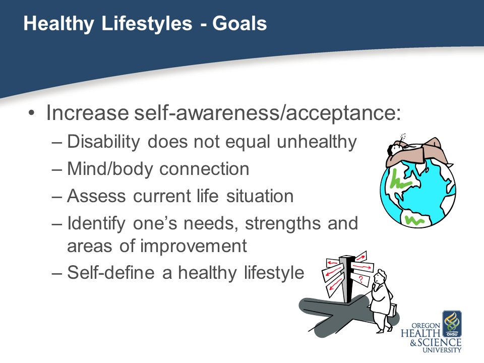 Healthy Lifestyles - Goals Increase self-awareness/acceptance: –Disability does not equal unhealthy –Mind/body connection –Assess current life situati