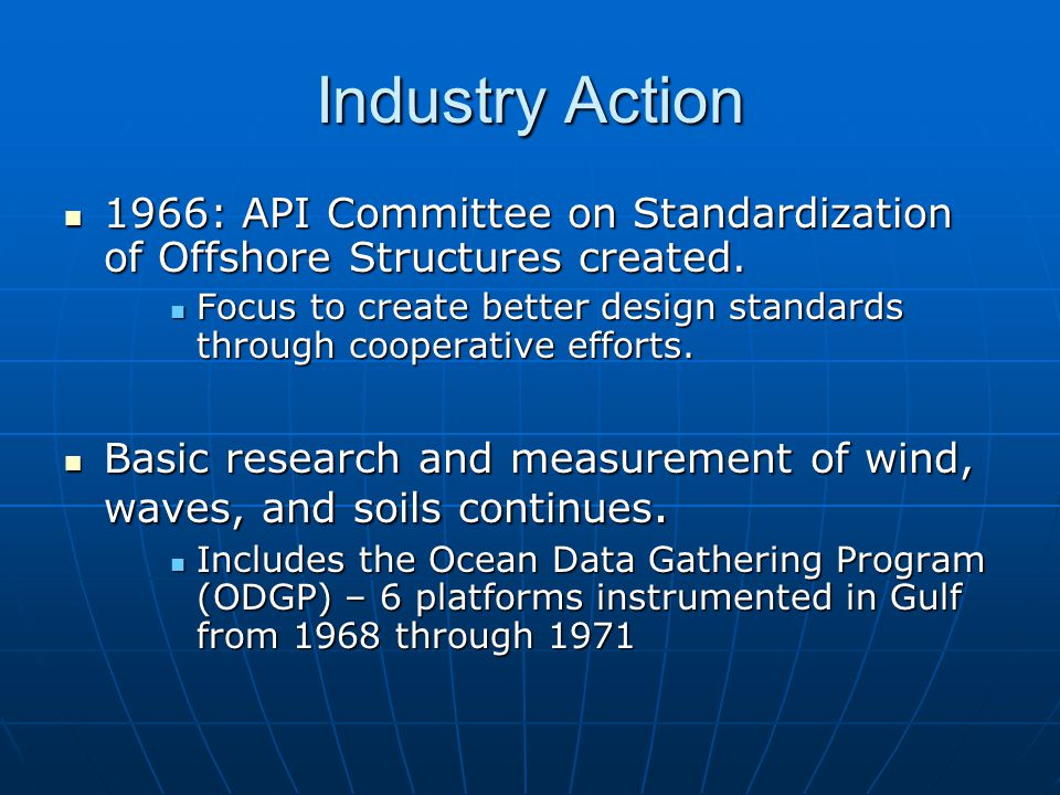 Industry Action 1966: API Committee on Standardization of Offshore Structures created.
