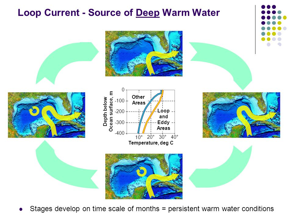 Loop Current - Source of Deep Warm Water Stages develop on time scale of months = persistent warm water conditions Depth below Ocean surface, m -400 -300 -200 -100 0 10°20 ° 30 ° 40 ° Temperature, deg C Loop and Eddy Areas Other Areas