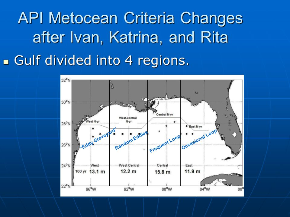 API Metocean Criteria Changes after Ivan, Katrina, and Rita Gulf divided into 4 regions.