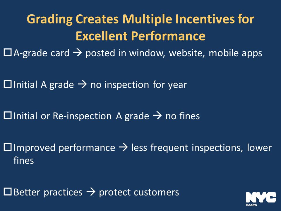 Grading Creates Multiple Incentives for Excellent Performance  A-grade card  posted in window, website, mobile apps  Initial A grade  no inspection for year  Initial or Re-inspection A grade  no fines  Improved performance  less frequent inspections, lower fines  Better practices  protect customers
