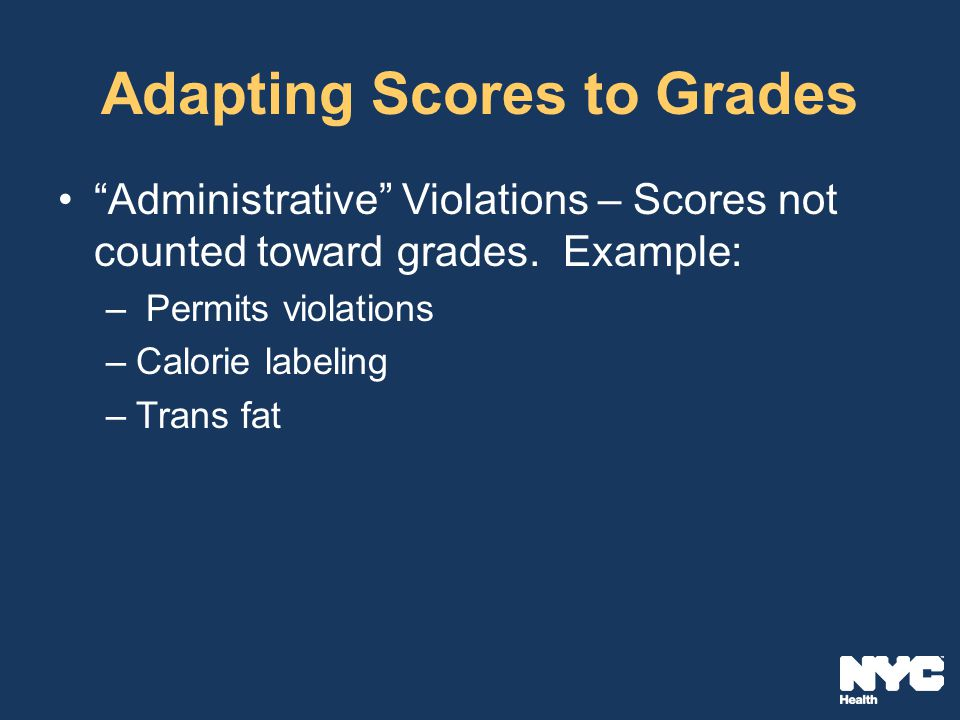 Adapting Scores to Grades Administrative Violations – Scores not counted toward grades.