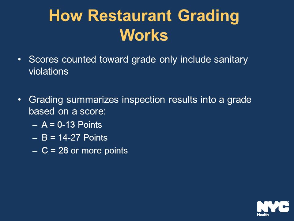 How Restaurant Grading Works Scores counted toward grade only include sanitary violations Grading summarizes inspection results into a grade based on a score: –A = 0-13 Points –B = 14-27 Points –C = 28 or more points