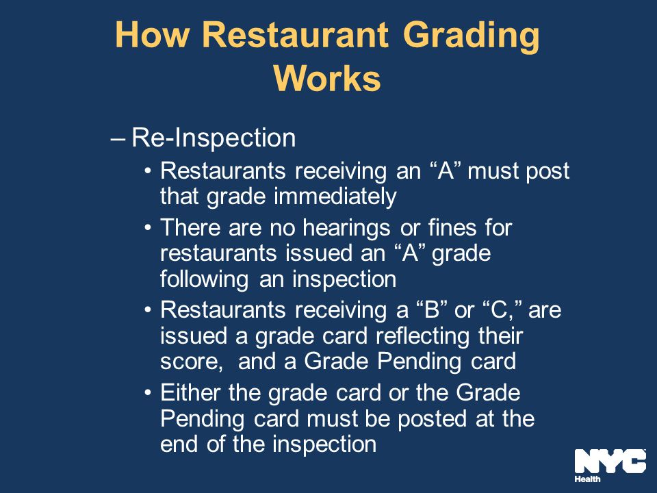 How Restaurant Grading Works –Re-Inspection Restaurants receiving an A must post that grade immediately There are no hearings or fines for restaurants issued an A grade following an inspection Restaurants receiving a B or C, are issued a grade card reflecting their score, and a Grade Pending card Either the grade card or the Grade Pending card must be posted at the end of the inspection