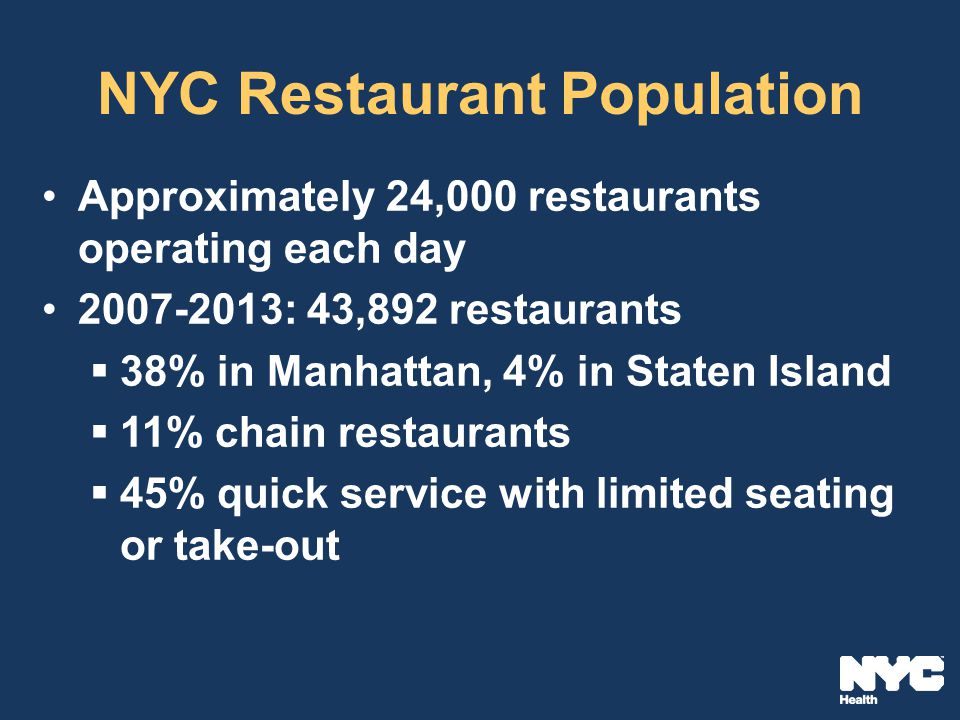 NYC Restaurant Population Approximately 24,000 restaurants operating each day 2007-2013: 43,892 restaurants  38% in Manhattan, 4% in Staten Island  11% chain restaurants  45% quick service with limited seating or take-out